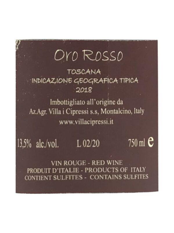 Bagside etiket af Cipressi Oro 2018