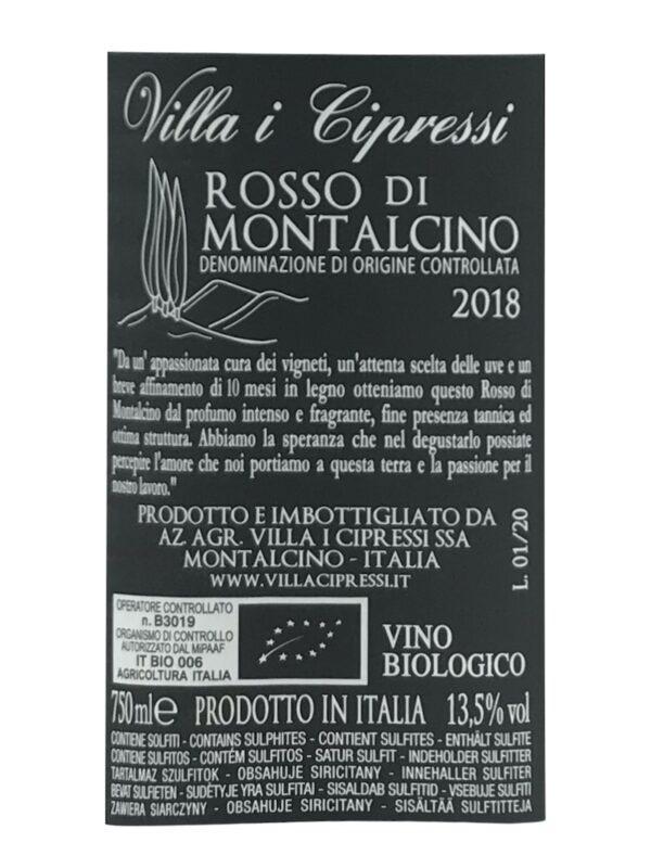 Bagside etiket af Cipressi Rosso 2018