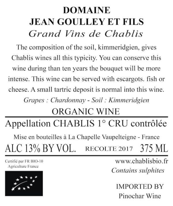 Domaine Goulley bagside etiket halvflaske