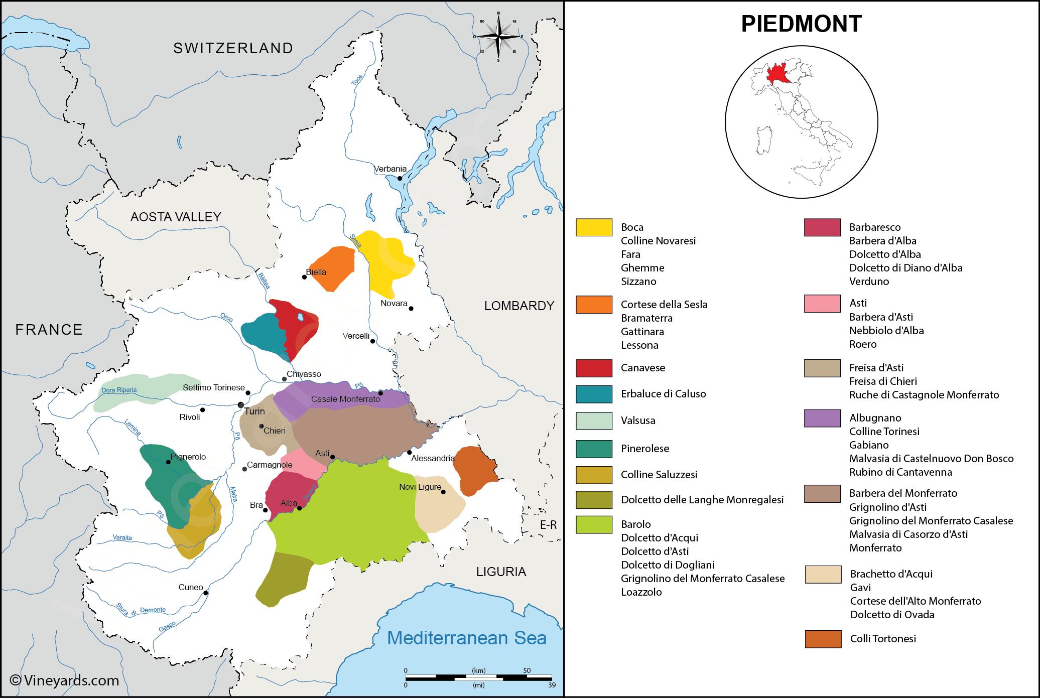Overblik over vinregionen Piemonte